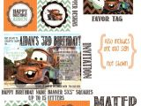 Free Printable tow Mater Birthday Invitations Disney 39 S Cars Mater Invitation and Printable Party 35 00