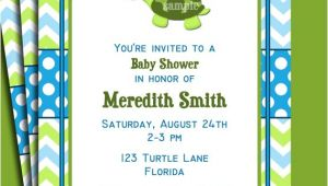Free Printable Turtle Baby Shower Invitations Turtle Invitation Printable or Printed with Free Shipping