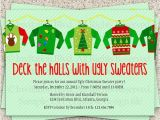 Free Printable Ugly Christmas Sweater Party Invitations Ugly Christmas Sweater Invitation Wording Happy Holidays