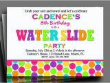 Free Printable Water Slide Party Invitations Water Slide Invitation Printable or Printed with Free Shipping