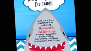 Free Shark Birthday Invitation Template Shark Birthday Invitation Printable Party Invite by