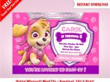 Free Skye Paw Patrol Birthday Invitations Diy Printable Skye Paw Patrol Birthday Party Invitation