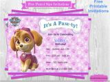 Free Skye Paw Patrol Birthday Invitations Paw Patrol Birthday