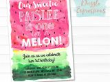 Free Watermelon Birthday Invitations Printable Watercolor Watermelon Birthday Invitation E
