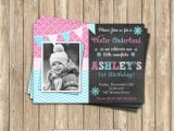 Free Winter Wonderland Party Invitations Winter Wonderland Girl Pink Blue Birthday Printable