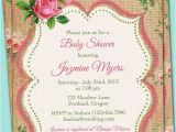 French Country Bridal Shower Invitations Vintage Elegant French Linen Burlap Rustic Country Roses