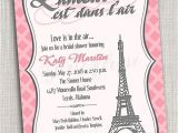 French Inspired Bridal Shower Invitations French themed Eiffel tower Paris Party Invitation Card