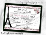 French themed Baby Shower Invitations French themed Party Invitations Invite with Envelope