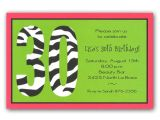 Funny Birthday Invitation Wording for 30th Zebra 30th Birthday Invitations Clearance Paperstyle