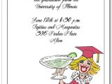 Funny Graduation Party Invitation Wording Blonde Girl & Margarita Graduation Party Party Invitations