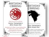 Game Of Thrones Birthday Invitation Dragon Birthday Invitation Wolf Birthday Invitation