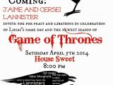 Game Of Thrones Birthday Party Invitations Game Of Thrones themed Party Invitation