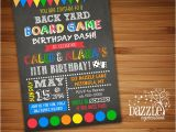 Game On Party Invitations Backyard Games Birthday Invitation Free Thank You Card