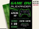 Game On Party Invitations Game On Invitation Video Game Party Invitation Gaming