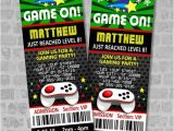 Game On Party Invitations Video Games Party Ticket Invitations Gaming Birthday Party