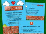 Gaming Wedding Invitations Custom Retro 8 Bit Video Game Wedding Invitations