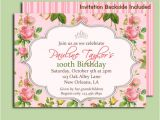 Garden Tea Party Invitation Wording Antique Rose Invitation Printable or Printed with Free