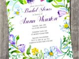 Garden themed Bridal Shower Invitation Wording Items Similar to Diy Invitation Watercolor Floral Bridal
