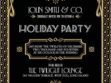 Gatsby Christmas Party Invitations Gatsby Holiday Party Invitation Black Gold by