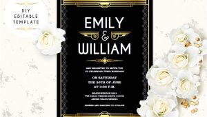Gatsby Wedding Invitation Template Free Wedding Invitation Template Great Gatsby Wedding Invitation