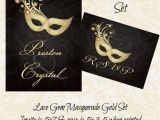 Gems Wedding Invitations Lace Gem Masquerade Gold Wedding Invitation by