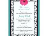 Gerbera Daisy Bridal Shower Invitations Teal Pink Gerbera Daisy Bridal Shower Invitation
