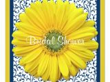 Gerbera Daisy Bridal Shower Invitations Yellow Navy Gerbera Daisy Bridal Shower Invitation