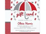 Gift Card Bridal Shower Invitations Gift Card Bridal Shower Invitation Red Gray