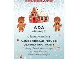 Gingerbread Birthday Invitations Gingerbread House Decorating Birthday Invitation