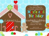 Gingerbread Birthday Party Invitations Gingerbread House Printable Birthday Invitation Dimple