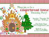 Gingerbread House Christmas Party Invitations Gingerbread House Decorating Party Invitation Printable