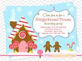 Gingerbread Man Birthday Party Invitations Gingerbread House Decorating Party Invitation by