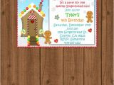 Gingerbread Man Birthday Party Invitations Gingerbread Man Birthday Invitation Kids Christmas