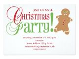 Gingerbread Man Birthday Party Invitations Gingerbread Man Red Green Christmas Party 5×7 Paper