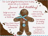 Gingerbread Man Birthday Party Invitations Little Gingerbread Man Birthday Invitation Cookie Candy Cane