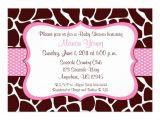 "Giraffe Print Baby Shower Invitations Giraffe Print Pink Baby Shower Invitation 5"" X 7"