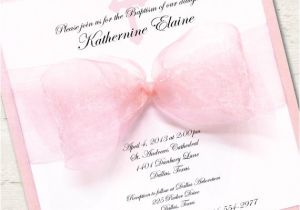 Girl Baptism Invitations In Spanish Girl Baptism Invitation Christening Pink Ribbon by