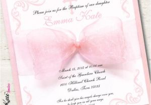 Girl Baptism Invitations In Spanish Spanish Girl Baptism Invitation Christening Pink Ribbon