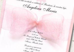 Girl Baptism Invitations In Spanish Spanish Girl Baptism Invitation Christening Pink Ribbon