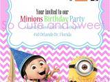 Girl Minion Birthday Party Invitations Despicable Me 2 Birthday Party Printable Invitation Girl