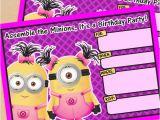Girl Minion Birthday Party Invitations Free Printable Despicable Me Girl Minion Birthday Invitation