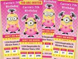 Girl Minion Birthday Party Invitations Free Printable Despicable Me Girl Minion Ticket Invitations