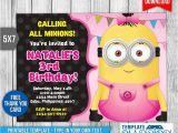 Girl Minion Birthday Party Invitations Girl Minion Invitation Birthday Invitation Psd by