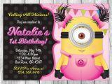 Girl Minion Birthday Party Invitations Girl Minion Invitation Girl Minion Birthday Girl Minion