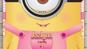 Girl Minion Birthday Party Invitations Minion Girl Birthday Invitation 2015 Minion Movie