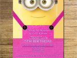 Girl Minion Birthday Party Invitations Minion Girl Birthday Invitation Pink Yellow Minion Invite