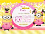 Girl Minion Birthday Party Invitations Minions Girls Birthday Card Invitation Minions theme Birthday