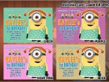 Girl Minion Birthday Party Invitations Personalized Girl Minion Despicable Me Printable Birthday