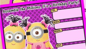 Girl Minion Party Invitations Free Printable Despicable Me Girl Minion Birthday