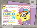 Girl Minion Party Invitations Girl Minion Invitation Printable 9 00 Https Www Etsy